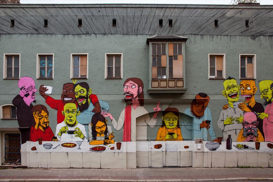 Die Fassade unseres neuen Zuhause, ein Graffiti von Paulo Ito aus Brasilien. Foto: Danilo Halle, Freiraumgalerie.