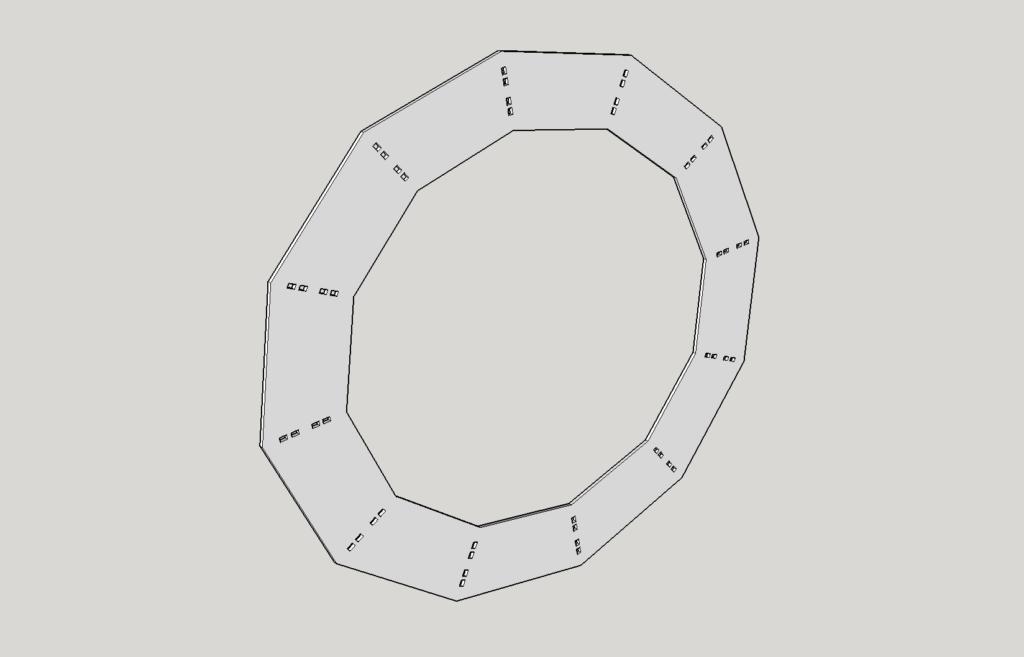 Ein Ring mit den Löchern zum Einstecken der Segmente.